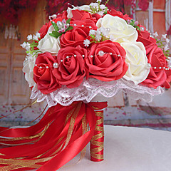 een boeket van 30 pe simulatie rozen bruiloft boeket bruiloft bruid bedrijf bloemen, rood en wit