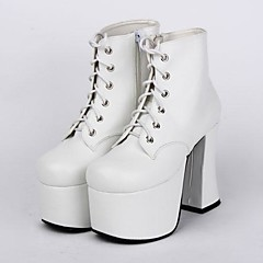 Sapatos Punk Lolita Salto Alto Sapatos Cor Única 9.5 CM Branco Para Feminino Couro PU/Couro de Poliuretano