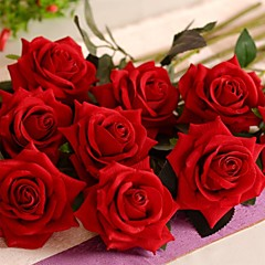 """19.7 """"l Satz 1 romantische rote Rosen Flanell Blumen"""