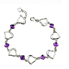Ladies' Silver With Cubic Zirconia Heart Chain Bracelet