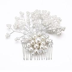 Vrouwen Bloemenmeisje Kristallen Licht Metaal Imitatie Parel Helm-Bruiloft Speciale gelegenheden Haarkammen Bloemen