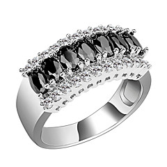 Anéis Casamento / Pesta / Diário / Casual / Esportes Jóias Zircão / Gema Feminino Anéis Grossos 1pç,6 / 7 / 8 / 9 / 10 / 11 / 12Preto /