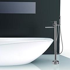 Modern Vloerbevestigd Inclusief handdouche / Staat op vloer with  Keramische ventiel Single Handle Een Hole for  Chroom , Douchekraan /