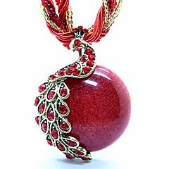 Damen Stränge Halsketten Anhänger Statement Ketten Medaillons Halsketten Pfau Acryl Harz Kupfer Opal AleaciónEinstellbar Böhmen-Art