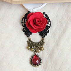 High Grade Fabric Retro Red Rose Brooch