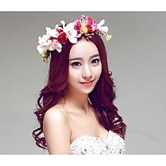 Dame / Blomsterpige Legering / Polyester / Gummi / Harpiks / Stoff Headpiece-Bryllup / Spesiell Leilighet / Utendørs Blomster / Kranser