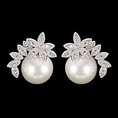 Drop Earrings - aus Kubikzirkonia/Perle/Legierung - für Damen