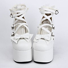 Boty Sweet Lolita Šněrování Vysoký podpatek Boty Mašle 12.5 CM Bílá Pro Dámské PU kůže/Polyurethanová kůže