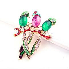 Lucky Star Women's Fashion Colorful Rhinestone Bird Brooch