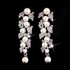 Vintage Party Wedding Princess Birde Crown Rhinestone Crystal Pearl Long Silver Earring
