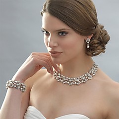 Jewelry Set Drop Earrings Pearl Necklace Pearl Elegant Bridal Pearl Rhinestone Silver Plated Alloy Circle WhiteNecklaces Earrings