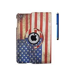 Caso padrão de bandeira rotação de couro pu com suporte de 360 graus e uma caneta para ipad 2/3/4