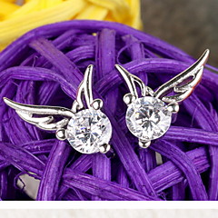 Women's 925 Sterling Silver  Angel Wings Stud Earrings With Rhinestone