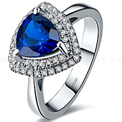 2CT Triangle Ring Simulate Sapphire Jewelry for Women Simulate Gemstone Sterling Silver Paved Halo 18K White Gold Plated