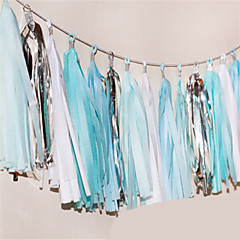 """It's Boy ""15 Inch Tissue Tassel Garlands Paper Banners DIY for Baby Showers(set of 5)"