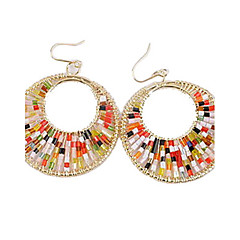 Rose Gold Color Plated Bright Beads Big Circle Alloy Earrings