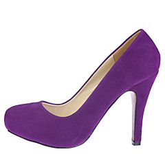 Women's Shoes Suede Stiletto Heel Heels/Round Toe Pumps/Heels Wedding/Party & Evening/Dress Black/Purple/Gray/Burgundy