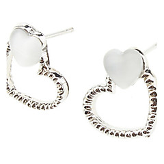 Double Heart White Silver Earrings