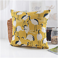 Country Style Crane Pattern Cotton/Linen Decorative Pillow Cover