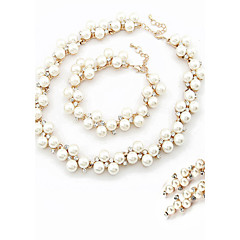 Women's Fashion Elegant Rhinestone Necklace Bracelet Earring Sets Alloy Wedding Jewelry Set