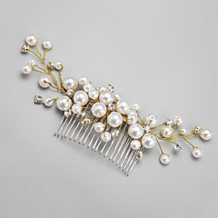 Women's Flower Girl's Rhinestone Alloy Imitation Pearl Headpiece-Wedding Special Occasion Hair Combs 1 Piece