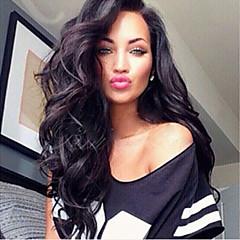 100% non transformés vague de corps de cheveux humains pleine de dentelle brésilien 10-28inch naturel perruque noire