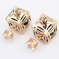 Women's Fine Fashion Hollow-out Square Pattern Stud Earrings With Rhinestone