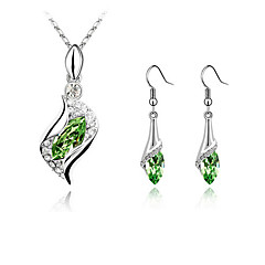 Women's Stylish Elegant Crystal Angel Elf Necklace Earrings Wedding Jewelry Set