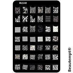 nail art stamping / stamper stencils placa modelo de unhas / moldes para pontas das unhas de acrílico série mls no.2