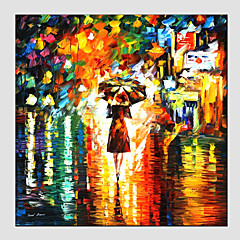 Handgeschilderde Abstracte landschappenModern / Europese Stijl Eén paneel Canvas Hang-geschilderd olieverfschilderij For Huisdecoratie