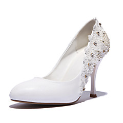 Women's Shoes Leather Stiletto Heel Heels/Pointed Toe Pumps/Heels Wedding/Dress White