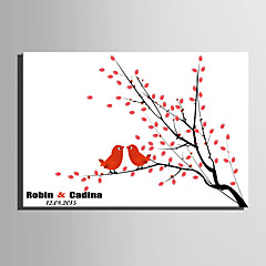 E-HOME® Personalized Fingerprint Painting Canvas Prints -Birds on The Branch (Includes 12 Ink Colors)