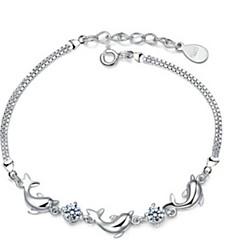 Náramky Dámské Řetěz Sterlingové stříbro Ametyst/Křišťál
