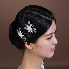 Women's Crystal / Imitation Pearl / Chiffon Headpiece-Wedding / Special Occasion Hair Pin 2 Pieces