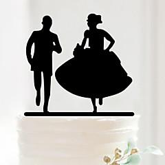 Decorações de Bolo Não-personalizado Casal Clássico Acrilíco Aniversário / Despedida de Solteira / Casamento Preto 1 PPO