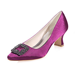 Women's Shoes Satin Spring / Summer / Fall Square Toe Wedding / Party & Evening Chunky HeelBlack / Blue / Purple / Red / Ivory / White /