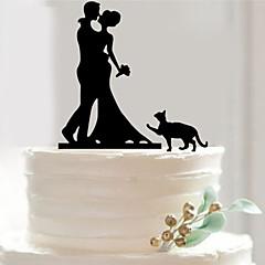 קישוטים לעוגה לא מותאם אישית אקרילי מסיבה לכלה / חתונה / יום שנה שחורנושאי גן / נושא אסיה / נושא פרחוני / נושא פרפר / נושא קלאסי / נושא