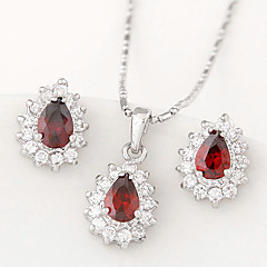 European Style Fashion Boutique Sweet Shiny Zircon Drop Earrings Necklace Set