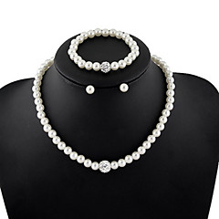 Women's Jewelry Set Chain Bracelet Strands Necklaces Pearl Necklace Circle Jewelry Pearl Imitation Diamond Fashion Elegant Bridal Jewelry