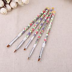 5pcs / set nagelborstels mode nieuwe nail art hout uv gel salon pen platte kwast kit puntjes op nagel styling tools