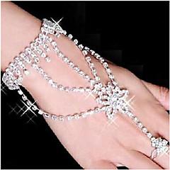 Feminino Enrole Pulseiras Pulseiras Anéis Liga Strass Prata Chapeada imitação de diamante Estrela Branco Jóias 1peça