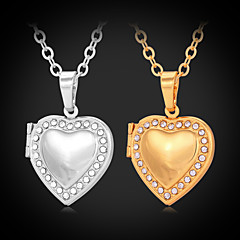 Women's Cute Hearts Pendant Photoes Locket 18K Gold Platinum Plated Choker Necklace Rhinestone Jewellry Gift for Women