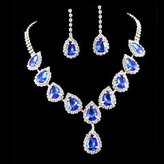 סט תכשיטים לנשים יום שנה / חתונה / ארוסים / יום הולדת / מתנה / מסיבה / אירוע מיוחד סטי תכשיטים סגסוגת ריינסטון שרשראות / עגילים כסף