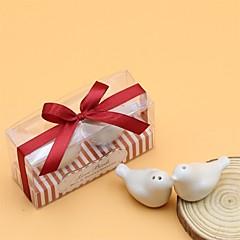 lásku ptáci sůl a pepřenka laskavosti s proužek designu box (vánoční motiv)