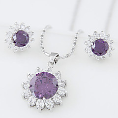 European Style Fashion Sweet Bright Sunflowers Zircon Earrings Necklace Set