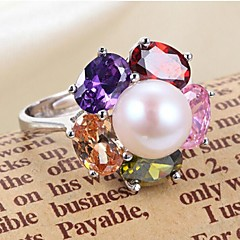 2015 New Fashion Women's Pearl / Sterling Silver Ring Christmas Gift