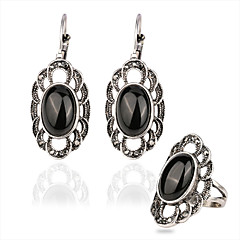Women's Luxury palace retro style oval plated alloy jewelry suit