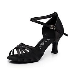 Non Customizable Women's Dance Shoes Latin / Salsa Satin / Flocking Flared Heel Black