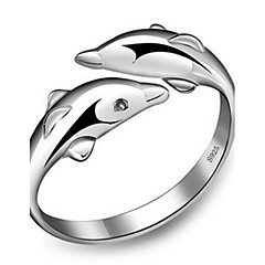 S925 Fine Silver Animal Delphis Shape Open Ring for Wedding Party Fine Jewelry