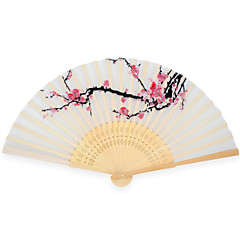 Silk Fans and parasols - 4 Piece/Set Hand Fans Garden Theme / Asian Theme / Floral Theme White